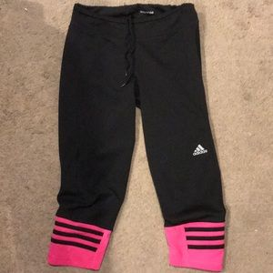Pink adidas climalite crops
